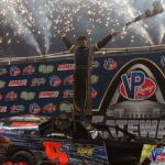 Tommie Seets Jr. in victory lane for Gateway Dirt Nationals Modified feature