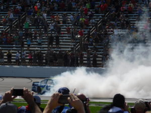 Jimmie Johnson does burnouts at TMS